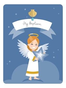Anioł z niebieską gwiazdą. przypomnienie o chrzcie na ciemnym tle nieba i gwiazd. płaska ilustracja