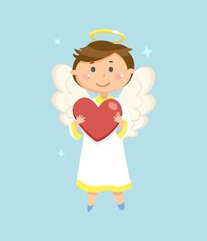 Anioł z sercem, symbol walentynki, amorek