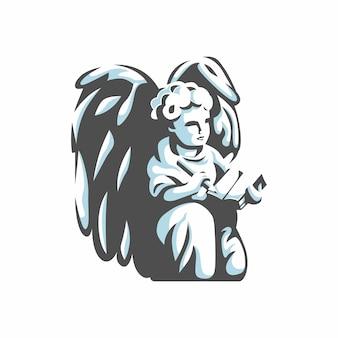 Anioł z wektorem logo ołówka i książki