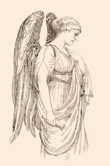 Anioł ze skrzydłami trzyma w dłoni zwój papirusu z profilu.