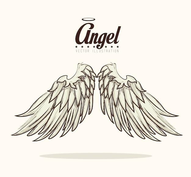 Anioła projekt, wektorowa ilustracja.