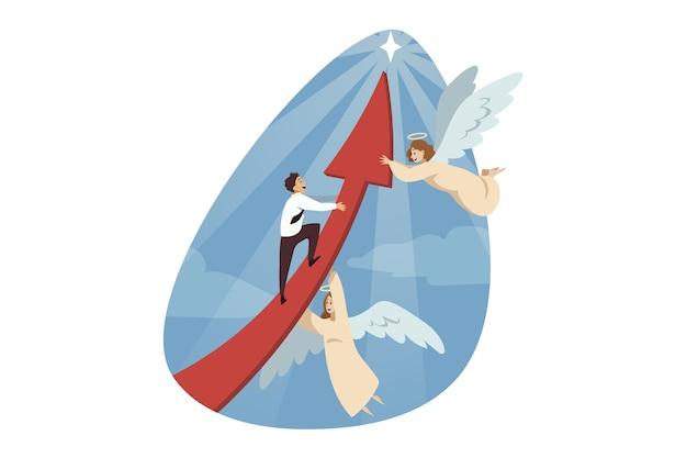 Anioły biblijny charakter pomagający kierownikowi biznesmen wspinaczka na czerwoną strzałkę