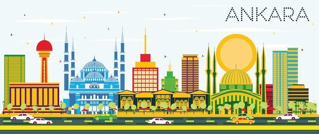 Ankara skyline z kolorowymi budynkami i błękitnym niebem. ilustracja wektorowa. podróże służbowe i koncepcja turystyki z zabytkowymi budynkami. obraz banera prezentacji i witryny sieci web.
