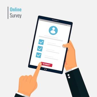 Ankieta online na ilustracji ekranu tabletu.