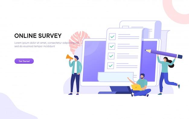 Ankiety online i ankiety ilustracja koncepcja, ludzie wypełniający formularz ankiety online na laptopie, aby zrobić listę notatek papieru