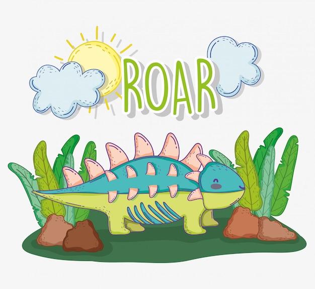 Ankylosaurus zwierzę w roślinach z słońcem i chmurami