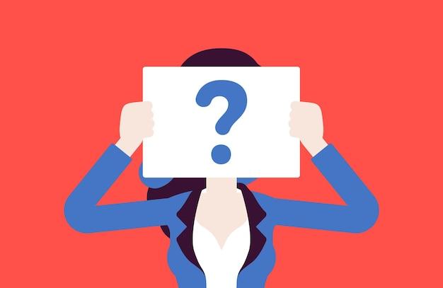 Anonimowa kobieta ze znakiem zapytania. kobieta niezidentyfikowana z imienia i nazwiska, nieznany użytkownik bez twarzy, incognito z ukrytym profilem, tajemnica biznesowa, niejasność, partner na randkę w ciemno. ilustracja wektorowa
