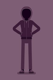 Anonimowa sylwetka z ukrytą twarzą. ciemne abstrakcyjne ciało hakera, zakryte kapturem, osoba online nie zidentyfikowana z imienia, nieznany użytkownik bez twarzy, incognito ze złymi intencjami. ilustracja wektorowa
