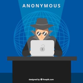 Anonimowy haker koncepcja z płaska konstrukcja