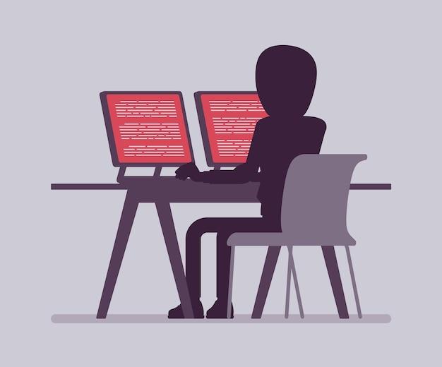 Anonimowy mężczyzna z ukrytą twarzą przy komputerze. ciemne ciało hakera, zakryte kapturem, osoba online niezidentyfikowana z imienia i nazwiska, nieznany użytkownik bez twarzy o złych intencjach. ilustracja wektorowa, widok z tyłu