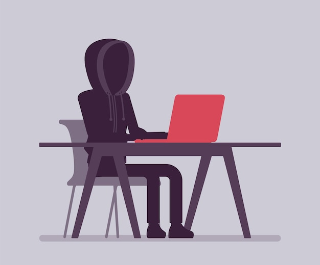 Anonimowy mężczyzna z ukrytą twarzą przy laptopie. ciemne abstrakcyjne ciało hakera, zakryte kapturem, osoba online nie zidentyfikowana z imienia, nieznany użytkownik bez twarzy, incognito ze złymi intencjami. ilustracja wektorowa