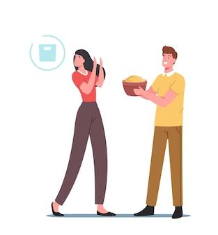 Anoreksja lub choroba bulimiczna, koncepcja diety. kobiece postacie z zaburzeniami psychicznymi odmawiają jedzenia, chudną, dziewczyna czują się winna za posiłki, jedzenie, choroba. ilustracja wektorowa kreskówka ludzie