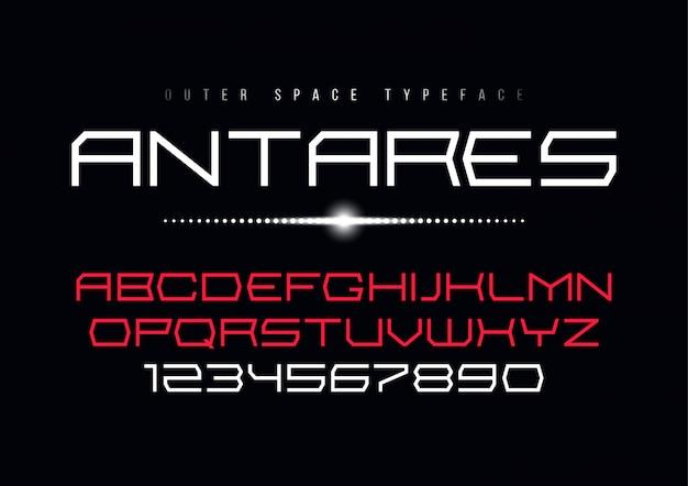 Antares futurystyczny wektor ozdobny projekt czcionki, alfabet, typ