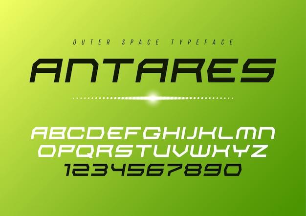 Antares futurystyczny wektorowy dekoracyjny kursywy chrzcielnicy projekt, alphabe