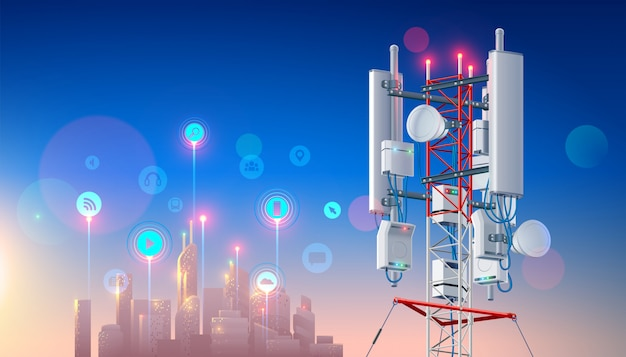 Antena do sieci bezprzewodowej. telekomunikacyjna stacja komórkowa dla inteligentnego miasta