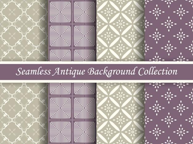 Antyczna bez szwu elegancka kolekcja w odcieniach fioletu i beżu, cztery stylowe wzornictwo retro.