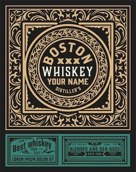 Antyczna etykieta na whisky lub inne produkty.