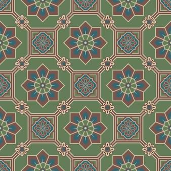 Antyczne bezszwowe tło orientalny zielony ośmiokąt kwadrat ramki krzyż kwiat