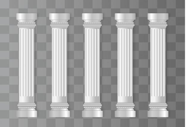 Antyczne białe kolumny. kolumna rzymska, filar grecki.