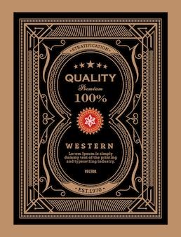 Antyczne etykiety ramki vintage granicy zachodniej ręcznie rysowane ilustracji wektorowych retro