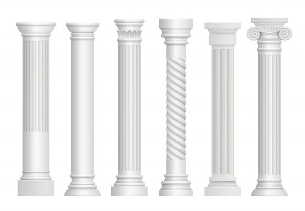 Antyczne filary. greckie historyczne rzym klasyczne kolumny wektorowe realistyczne ilustracje