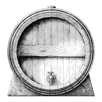 Antyczne grawerowanie ilustracja dębowej beczki ręcznie rysunek czarno-biały clipart na białym tle, beczka fermentacji alkoholowej