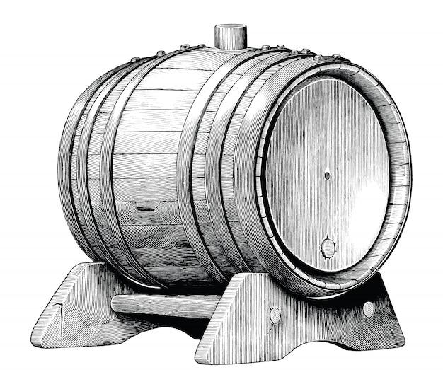 Antyczne grawerowanie ilustracja dębowej beczki ręcznie rysunek czarno-biały clipart na białym tle, dębowa beczka fermentacji alkoholowej