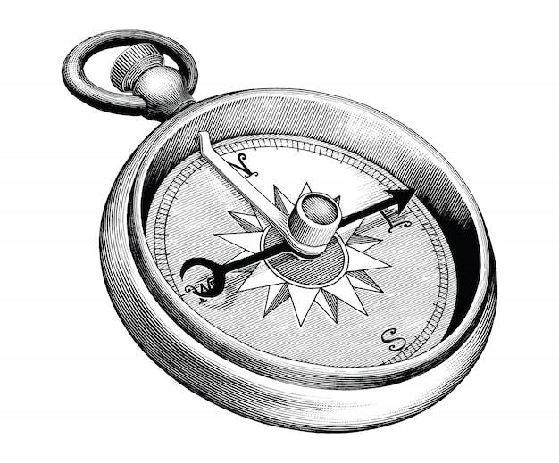 Antyczne grawerowanie ilustracja kompas czarno-biały clipart na białym tle