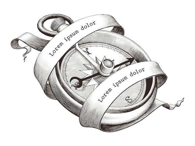 Antyczne grawerowanie ilustracja rocznika kompas, clipart na białym tle, symbol morza