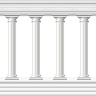 Antyczne kolumny na białym tle