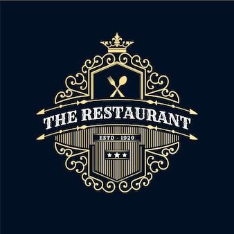 Antyczne królewskie luksusowe logo retro z ozdobną ramką do kawiarni hotelowej restauracji cafe