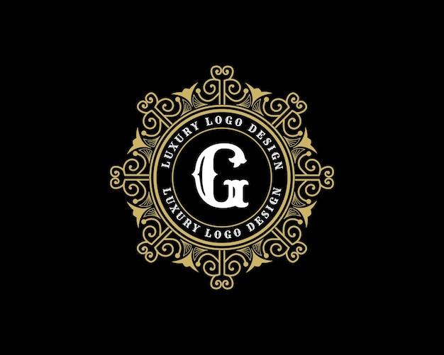 Antyczne luksusowe wiktoriańskie logo w stylu retro z ozdobną ramką