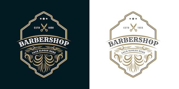 Antyczne retro luksusowe wiktoriańskie logo kaligraficzne z ozdobną ramką dla salonu fryzjerskiego