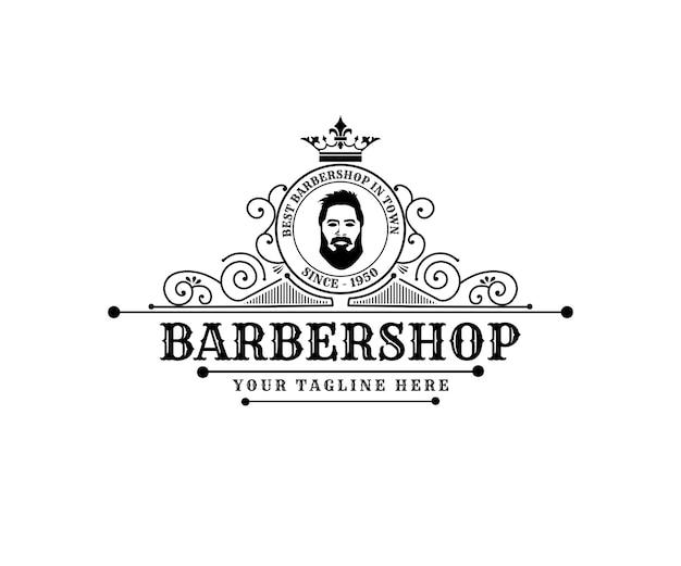 Antyczne retro luksusowe wiktoriańskie logo kaligraficzne z ozdobną ramką do salonu fryzjerskiego