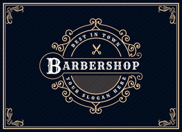 Antyczne retro luksusowe wiktoriańskie logo kaligraficzne z ozdobną ramką odpowiednie dla fryzjera