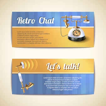 Antyczne telefony poziome banery