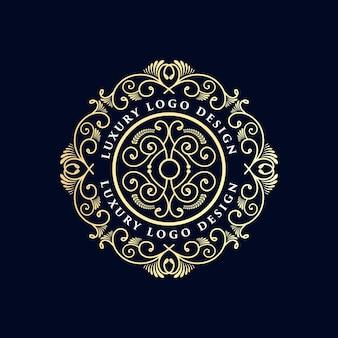 Antyczne vintage luksusowych retro heraldyczne wiktoriańskie logo kaligraficzne z ozdobną ramką