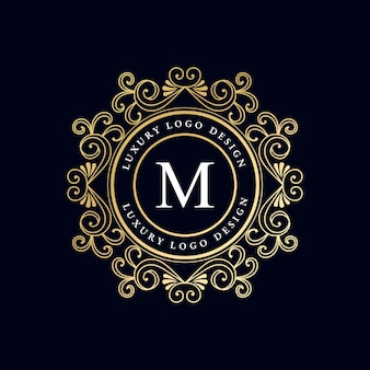 Antyczne, vintage, retro, luksusowe, heraldyczne, wiktoriańskie, kaligraficzne logo z ozdobną ramką premium wektorów