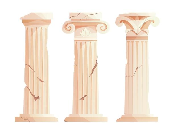 Antyczne złamane greckie kolumny starożytny rzymski filar elementy projektu budowlanego