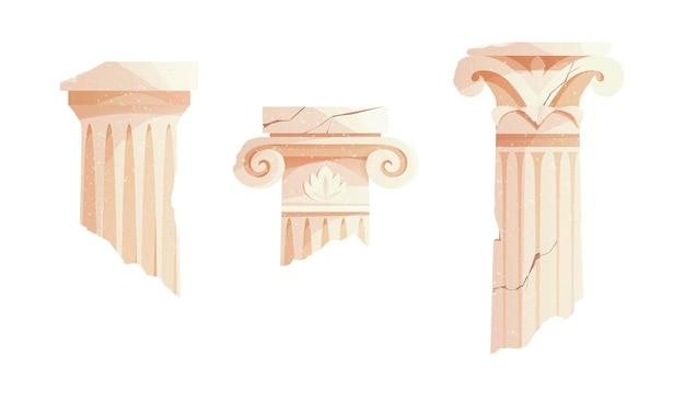 Antyczne złamane greckie kolumny starożytny rzymski filar