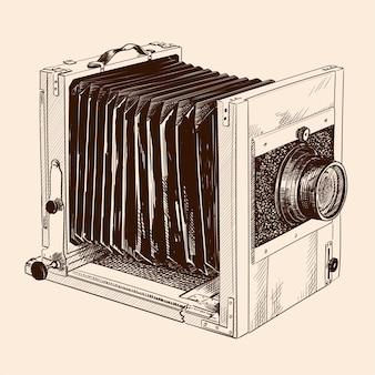 Antyczny formatowany drewniany aparat z futrem i obiektywem na białym tle na beżowym tle.