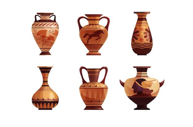 Antyczny grecki wazon z dekoracją starożytny tradycyjny gliniany słoik lub garnek na wino wektor kreskówka chory