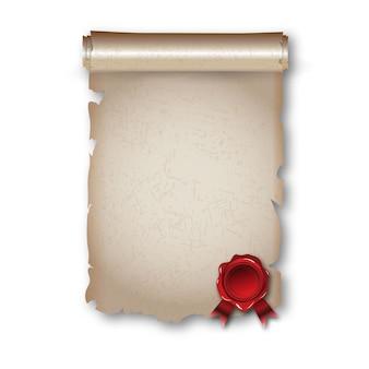 Antyczny historyczny zwój papieru