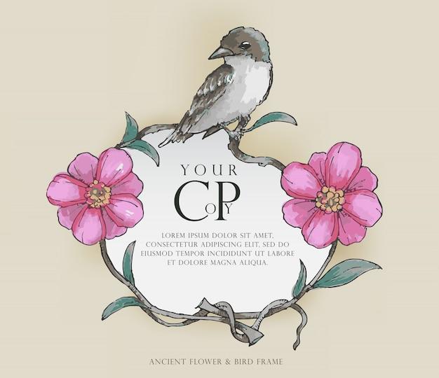 Antyczny kwiat & ptak rama, wodny koloru styl, wektor