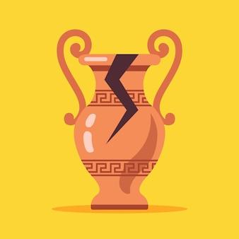 Antyczny pęknięty wazon z grecji