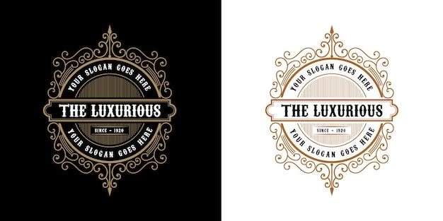 Antyczny retro luksusowy wiktoriański emblemat kaligraficzny logo z ozdobną ramką nadaje się do barber wine craft sklep piwny spa salon piękności butik antyczny restauracja hotel