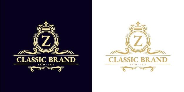 Antyczny retro luksusowy wiktoriański emblemat kaligraficzny logo z ozdobną ramką nadaje się do barbera wino rzemieślnicze sklep piwny spa salon piękności butik restauracja hotelowa kurort klasyczny marka królewska