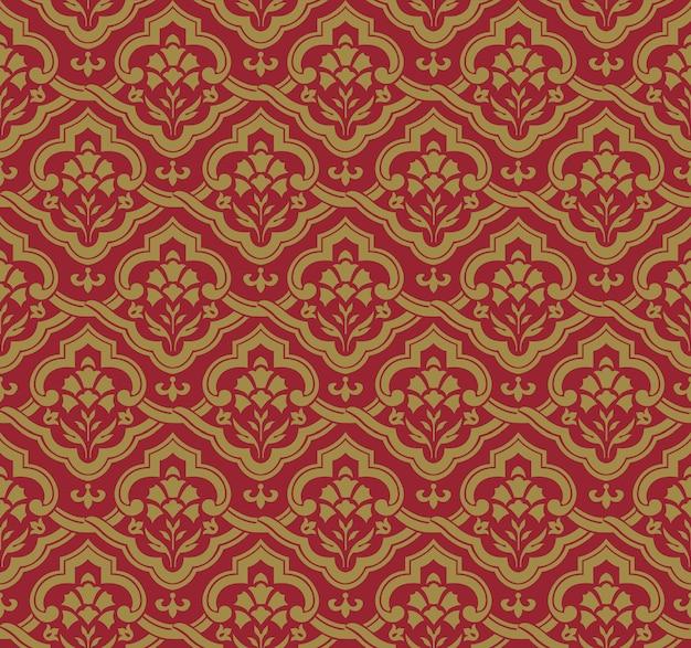 Antyczny wzór kwiatowy krzyż spirala orientalna krzywa