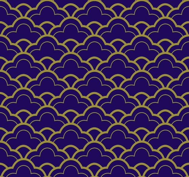 Antyczny wzór skali linii orientalnej vintage niebieskiej złotej krzywej