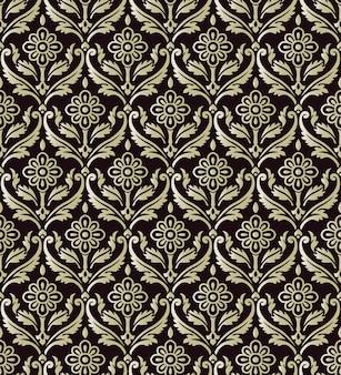 Antyczny wzór vintage krzywa spirala krzyż liść winorośli kwiat
